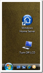 Clicking this icon from your desktop will turn your LCD off. Its that simple!