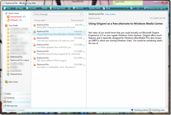 RSS Feeds in Windows Live Mail