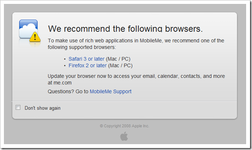 MobileMe on IE8