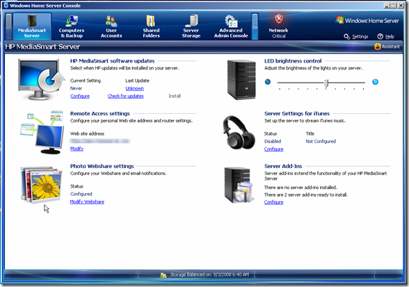 HP MediaSmart Server Addin in WHS Console