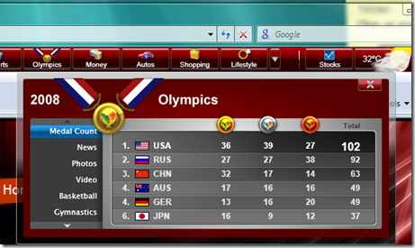 MSN Toolbar - Olympics