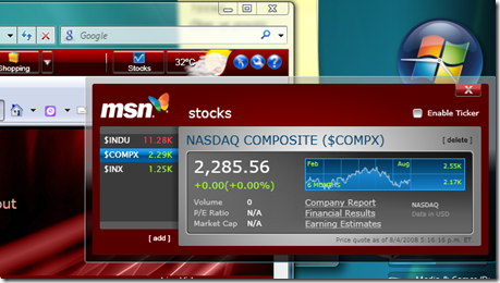 MSN Toolbar - Stocks