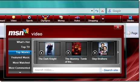 MSN Toolbar - Videos