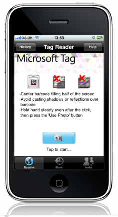 Microsoft Tag runnong on the iPhone