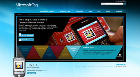Microsoft Tag website