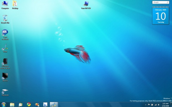 Windows 7 Build 7022 - Desktop