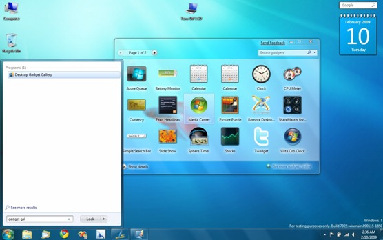 Windows 7 Build 7022 - Desktop Gadget Gallery