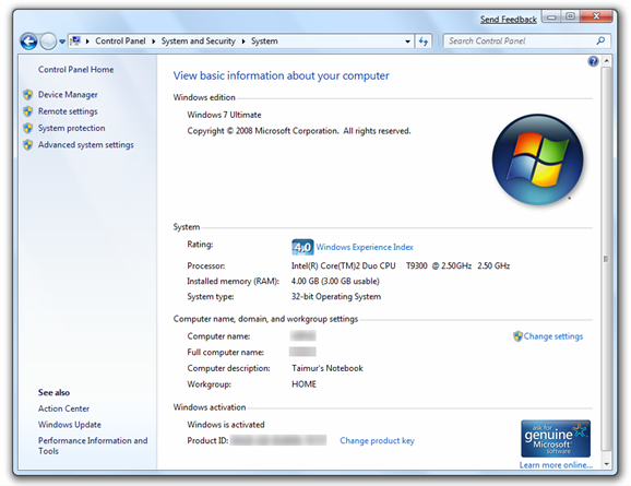 Windows 7 Build 7022 - System