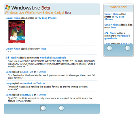 Windows Live 'What's New' Gadget