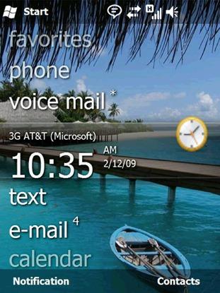 Windows Mobile 6.5 (home screen)