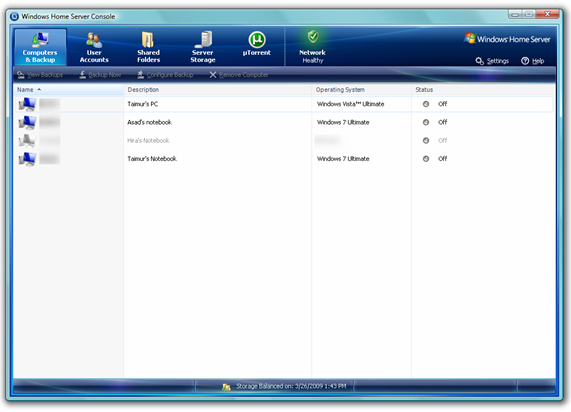 Windows Home Server Console in PP2 displaying machines running Windows 7.