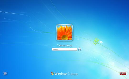 Windows 7 Build 7057 Login Screen
