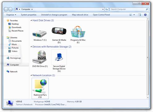 FTP site in Windows 7