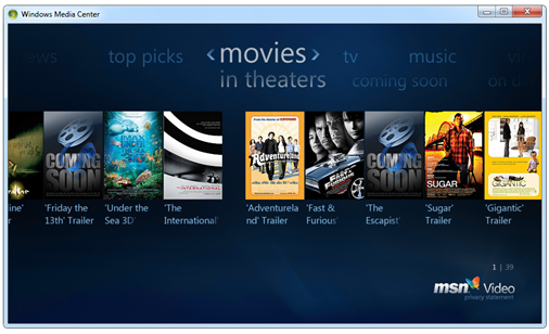 Movie Trailers in Windows Media Center from Windows 7 Build 7077.