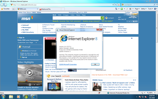 Windows Internet Explorer 8 version 8.0.7077.0 from Windows 7 Build 7077.