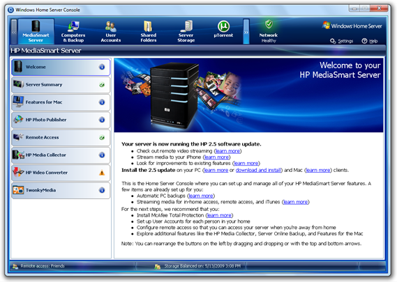 HP MediaSmart Server 2.5 in WHS Console