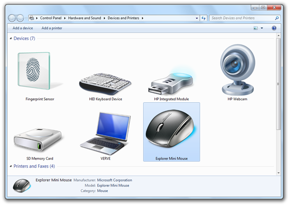 Explorer Mini Mouse in Windows 7 Device Stage