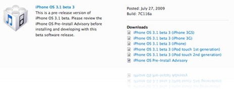 iPhone OS 3.1 Beta 3