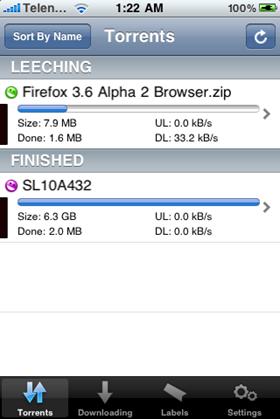 Monitor uTorrent on iPhone