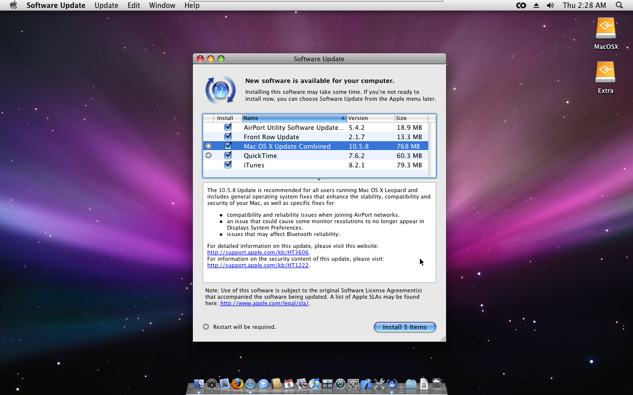 what is mac os x 10.5.8