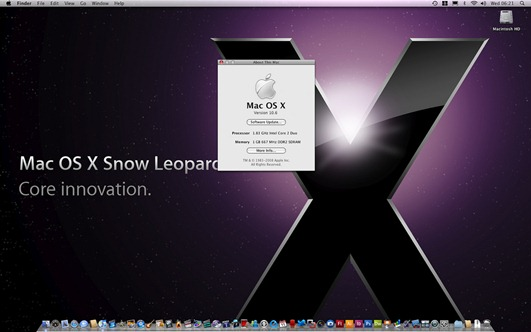 OS X Snow Leopard 10A432 Screenshot