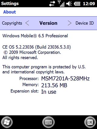 Windows Mobile 6.5 Build 23036