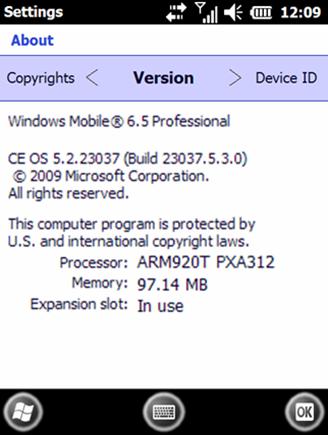 Windows Mobile 6.5 Build 23037