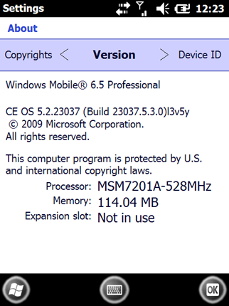 Windows Mobile 6.5 Build 23037