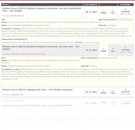 Windows Server 2008 R2 on MSDN