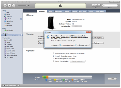 Download iPhone 3.0.1 from iTunes