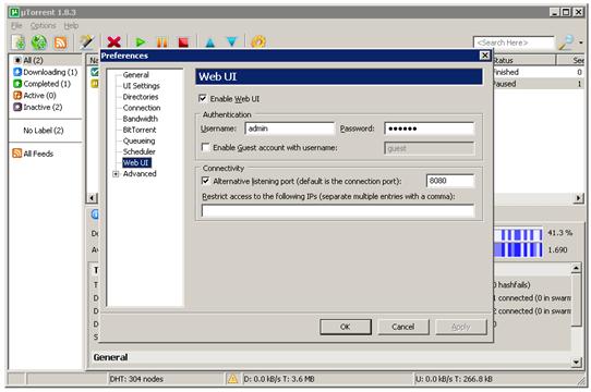 uTorrent on Windows Home Server