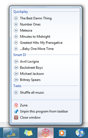 Support for Jump Lists in Windows 7