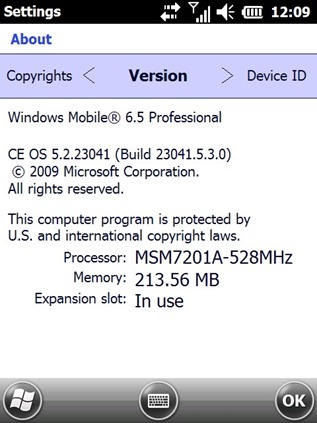 Windows Mobile 6.5 Build 23041