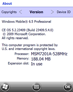 Windows Mobile 6.5 Build 23409