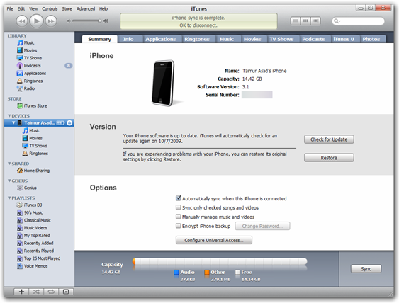 iTunes 9.0.1 on Windows 7