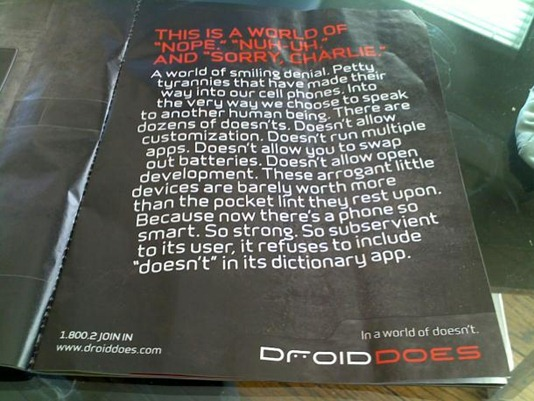 In a world of doesn't. Droid Does.