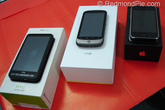 HTC HD2, Nexus One, iPhone 3GS