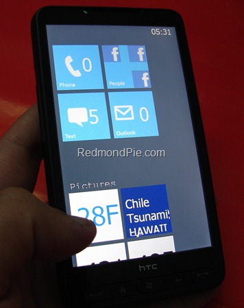 Windows Phone 7 Metro UI on HTC HD2