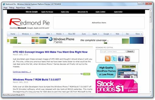 IE 9 Platform Preview