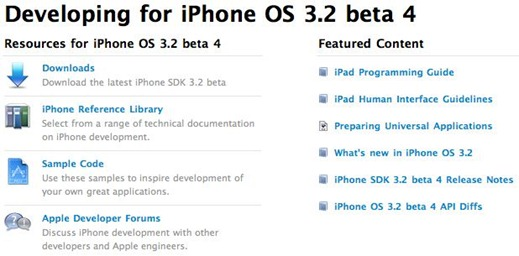 iPhone 3.2 Beta 4 SDK for iPad