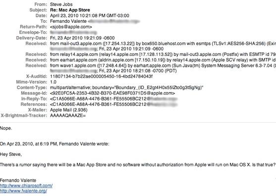 Steve Jobs Email