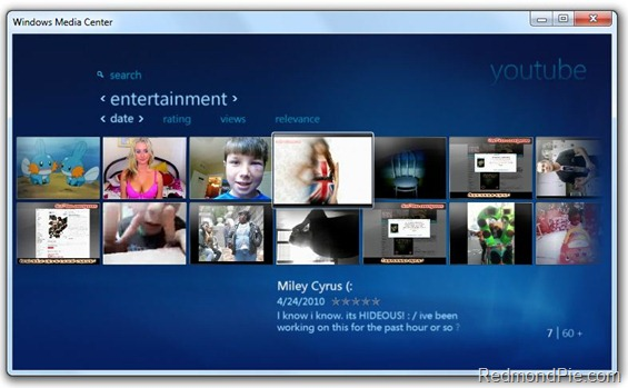 Youtube in Windows 7 Media Center (1)