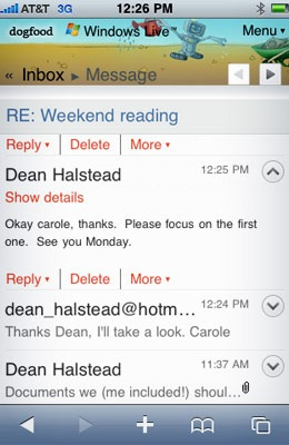 Hotmail on iPhone
