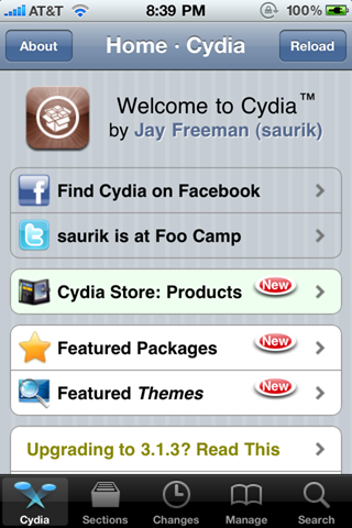 Cydia on iPhone 4