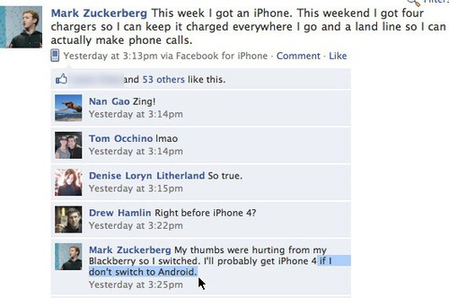 Facebook Zuckerberg on iPhone