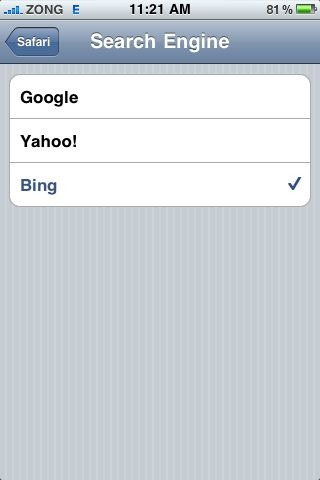 Microsoft Bing in Safari