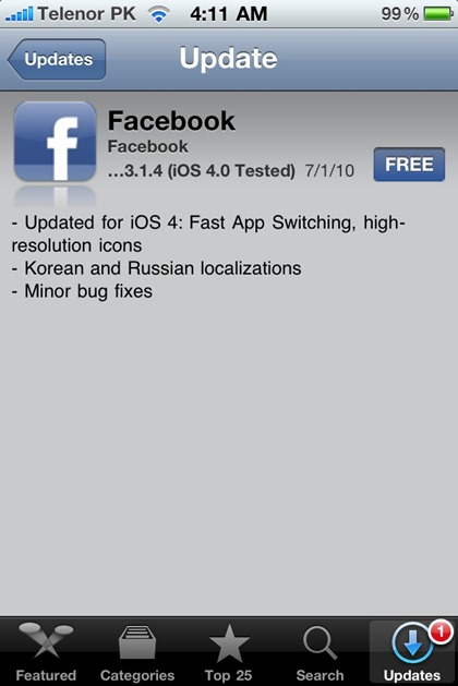 Facebook for iPhone 4 iOS 4 (1)