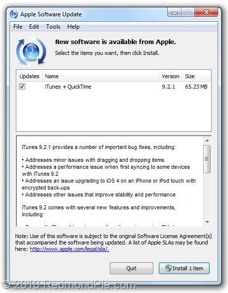 iTunes 9.2.1