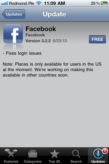 Facebook for iPhone 3.2.2