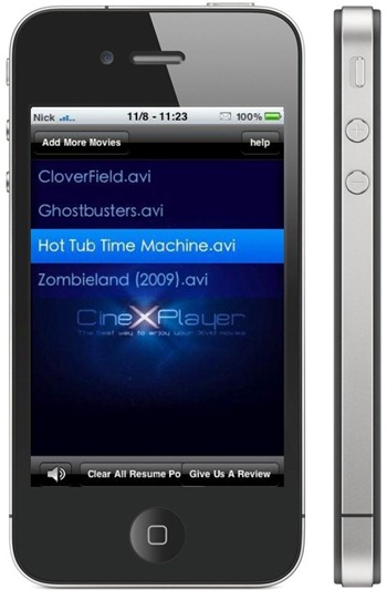 CineXPlayer on iPhone 4